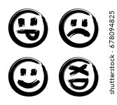 hand drawn set of emoticons ... | Shutterstock . vector #678094825