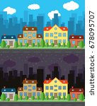 city with one and two story...   Shutterstock . vector #678095707