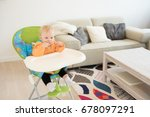adorable baby girl with blue... | Shutterstock . vector #678097291