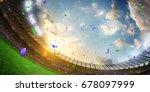 evening stadium arena soccer... | Shutterstock . vector #678097999
