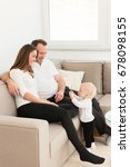 happy family of three  is... | Shutterstock . vector #678098155