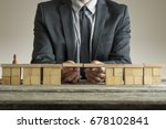 businessman building bridge... | Shutterstock . vector #678102841