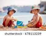 two cute kids  playing in the... | Shutterstock . vector #678113239