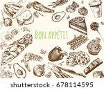hand drawn vintage food. food... | Shutterstock .eps vector #678114595