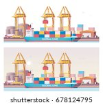 vector low poly 2d cargo port... | Shutterstock .eps vector #678124795