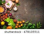balanced food background....   Shutterstock . vector #678135511