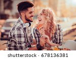 couple riding their bikes in... | Shutterstock . vector #678136381