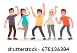 happy group of young people.... | Shutterstock .eps vector #678136384
