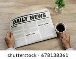 businessman reading newspapers... | Shutterstock . vector #678138361