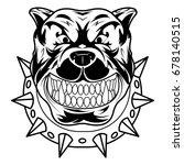 bulldog mongrel dog head angry | Shutterstock .eps vector #678140515