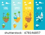 flat design 4 seasons floating... | Shutterstock .eps vector #678146857