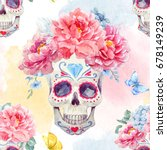 watercolor pattern with a skull ... | Shutterstock . vector #678149239
