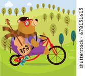 bear cycling cartoon vector... | Shutterstock .eps vector #678151615