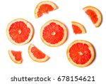 grapefruit slices isolated on... | Shutterstock . vector #678154621