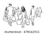 people walking in shopping mall ... | Shutterstock . vector #678162511