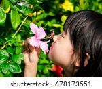 asian child smelling a pink... | Shutterstock . vector #678173551