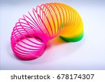 Small photo of Isolated Colorful and Flexible Bouncy Plastic Spring