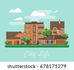 city life. vector illustration... | Shutterstock .eps vector #678175279