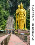 Small photo of The tallest Lord Murugan statue in the world; 42.7-metre high. The most iconic feature at the entrance of Batu Caves, Kuala Lumpur, Malaysia. Visitors must climb a steep flight of 272 steps.
