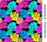 palm leaves summer funky...   Shutterstock .eps vector #678182605