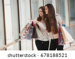 two girls friends with shopping ... | Shutterstock . vector #678188521