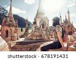 young traveler enjoying a view... | Shutterstock . vector #678191431