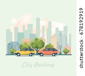 city parking with colorful cars ... | Shutterstock .eps vector #678192919
