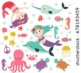 set of isolated mermaid with... | Shutterstock .eps vector #678193459