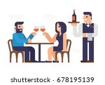 people are dinner at a ... | Shutterstock .eps vector #678195139