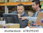 warehouse worker and manager... | Shutterstock . vector #678195145
