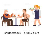 people are dinner at a ... | Shutterstock .eps vector #678195175