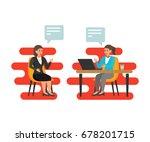 women hr interviews an employer ...   Shutterstock .eps vector #678201715