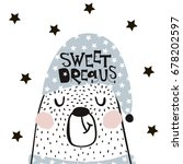cute cartoon sleeping bear in... | Shutterstock .eps vector #678202597