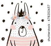 cute cartoon rabbit girl with... | Shutterstock .eps vector #678202657