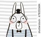 cute cartoon rabbit in... | Shutterstock .eps vector #678202684