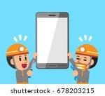 vector cartoon technicians and... | Shutterstock .eps vector #678203215