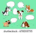 cartoon dogs with white speech... | Shutterstock .eps vector #678203755