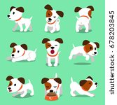 Stock vector cartoon character jack russell terrier dog poses 678203845