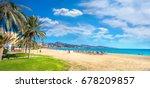 Panoramic view of Malagueta beach in Malaga. Costa del Sol, Andalusia, Spain