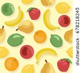 seamless pattern of fruits on... | Shutterstock .eps vector #678218245