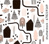 seamless pattern with trees ... | Shutterstock .eps vector #678219169