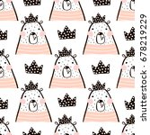 seamless pattern with cute girl ... | Shutterstock .eps vector #678219229