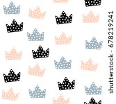 seamless pattern with crowns.... | Shutterstock .eps vector #678219241