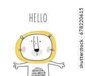 cute lion print | Shutterstock .eps vector #678220615