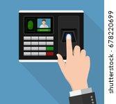 flat design human hand scanning ... | Shutterstock .eps vector #678220699
