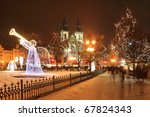 Christmas Mood on snowy Old Town Square, Prague, Czech Republic