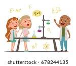 schoolchildren in chemistry... | Shutterstock .eps vector #678244135