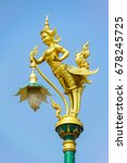 golden kinnaree lamp pole on... | Shutterstock . vector #678245725