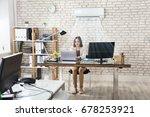 happy young businesswoman...   Shutterstock . vector #678253921