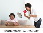 mother shouting at her daughter ... | Shutterstock . vector #678253939